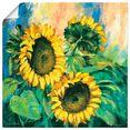 artland artprint zonnebloemen ii in vele afmetingen  productsoorten -artprint op linnen, poster, muursticker - wandfolie ook geschikt voor de badkamer (1 stuk) geel