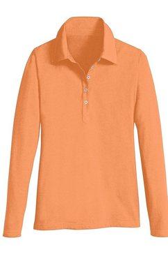 casual looks poloshirt met lange mouwen oranje