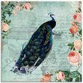 artland print op glas vintage rozen en pauw illustratie (1 stuk) blauw