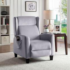 atlantic home collection relaxfauteuil timo klassieke oorfauteuil met moderne relaxfunctie en praktisch zijzak grijs