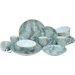leonique combi-servies claudine marmeren structuur (set, 16 delig) grijs