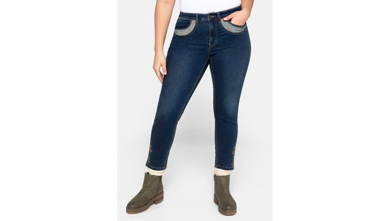 Sheego stretch jeans Skinny in folklore-look