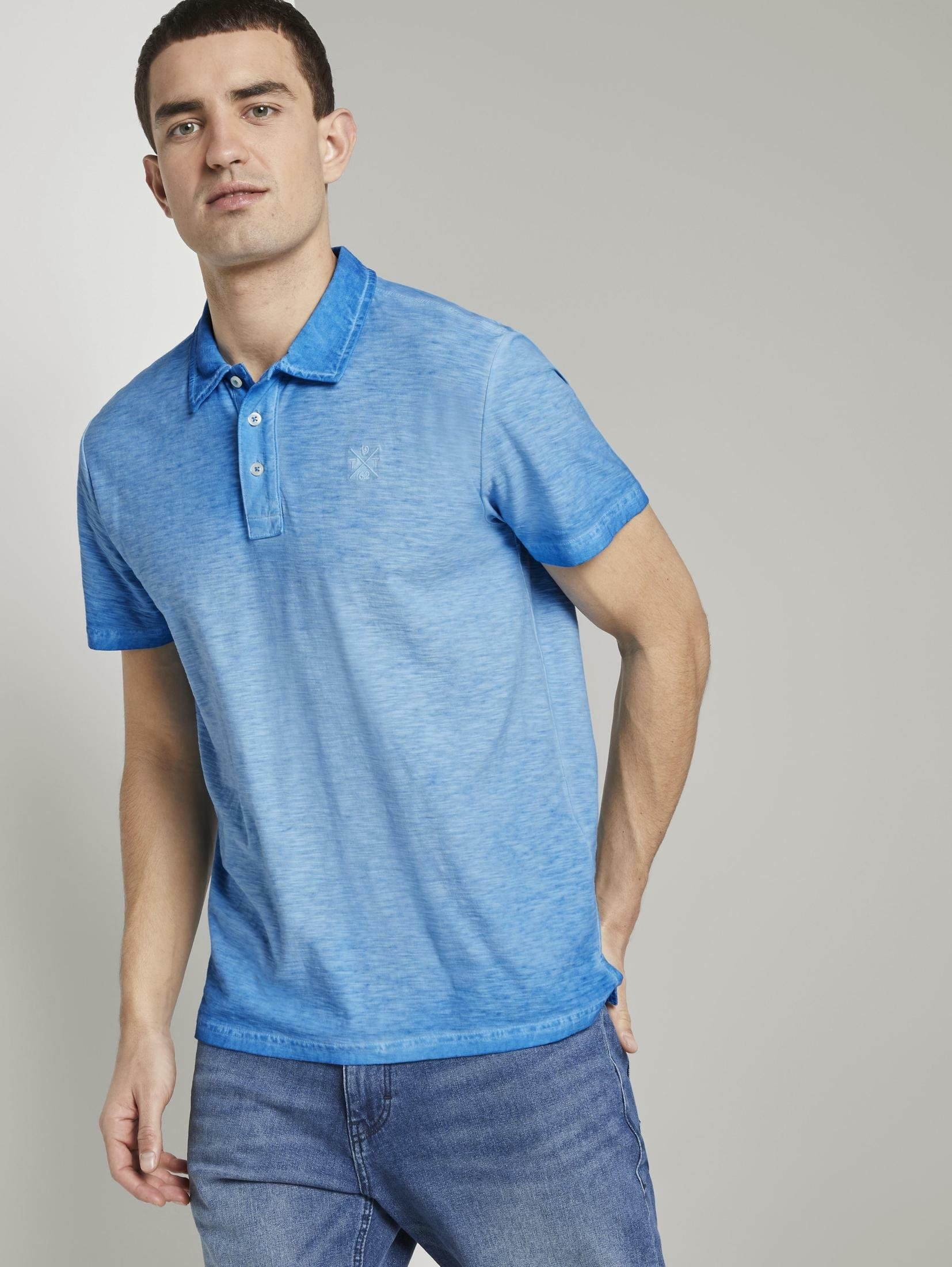 Tom Tailor poloshirt »Meliertes Poloshirt im Washed-Look« nu online kopen bij OTTO