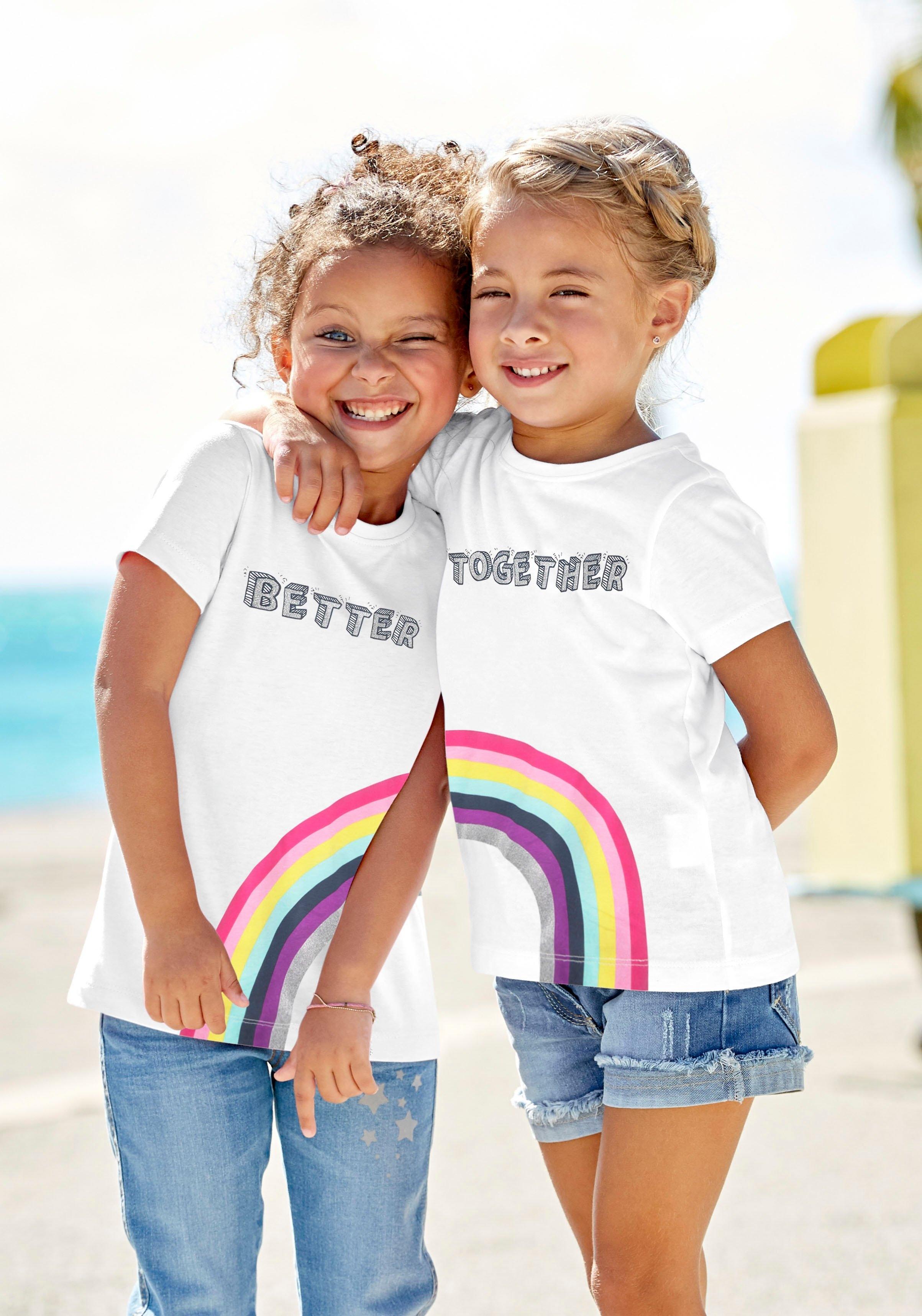 KIDSWORLD shirt met print »BETTER TOGETHER« (Set van 2) bestellen: 30 dagen bedenktijd