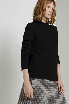 tom tailor trui met staande kraag gestructureerde trui zwart