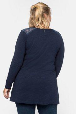 sheego lang shirt in wijd uitlopend a-model blauw
