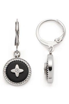 leonardo oorringen oorhangers donna, 018301 met glassteen, onyx zwart