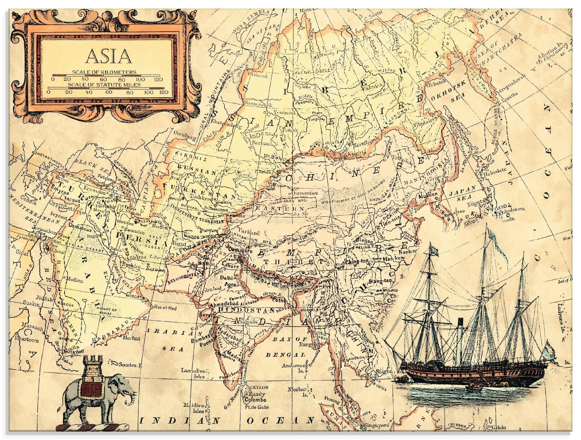 Artland print op glas Kaart van Azië (1 stuk) nu online kopen bij OTTO