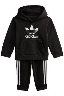 adidas originals joggingpak trefoil hoodie-set uniseks (set, 2-delig) zwart