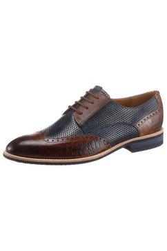 melvin  hamilton schoenen met perforatie plantaardig gelooid met sierklep over de wreef bruin