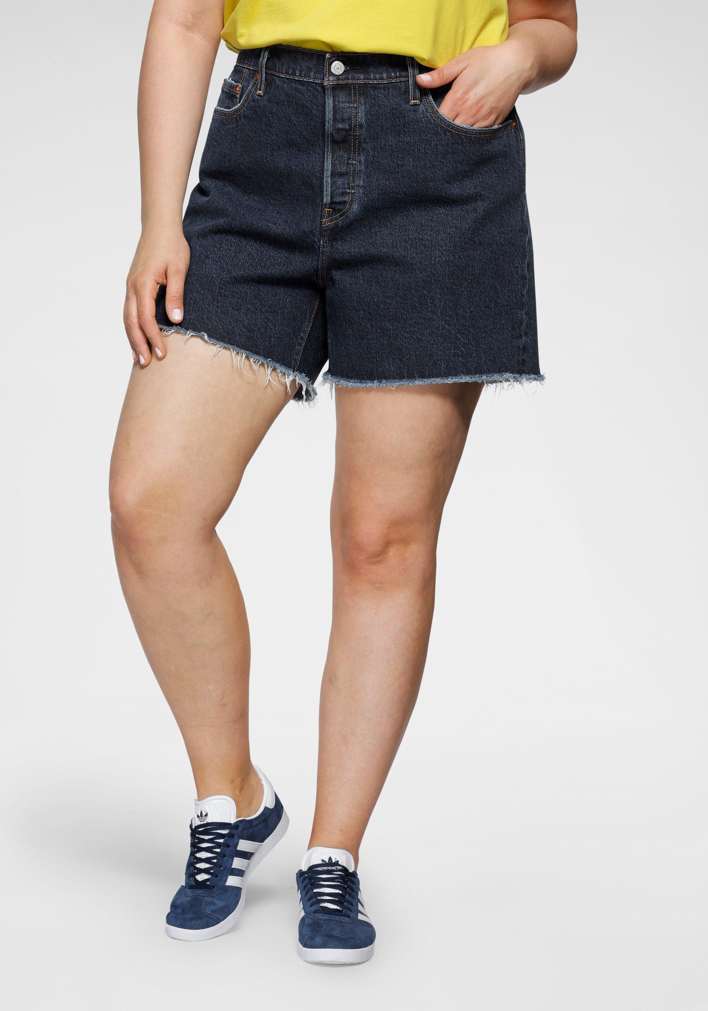 Levi's Plus Levi's® Plus destroyed jeans 501 Original Short met gerafelde zoom voordelig en veilig online kopen
