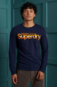 superdry shirt met lange mouwen »cl vintage stripe ls top« blauw