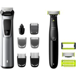 philips tondeuse mg9710-90 multigroom series 9000  oneblade face+body 12-in-1-premium-trimset (set) zwart