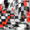 artland artprint zwart-wit raakt rood versie 1 in vele afmetingen  productsoorten - artprint van aluminium - artprint voor buiten, artprint op linnen, poster, muursticker - wandfolie ook geschikt voor de badkamer (1 stuk) zwart