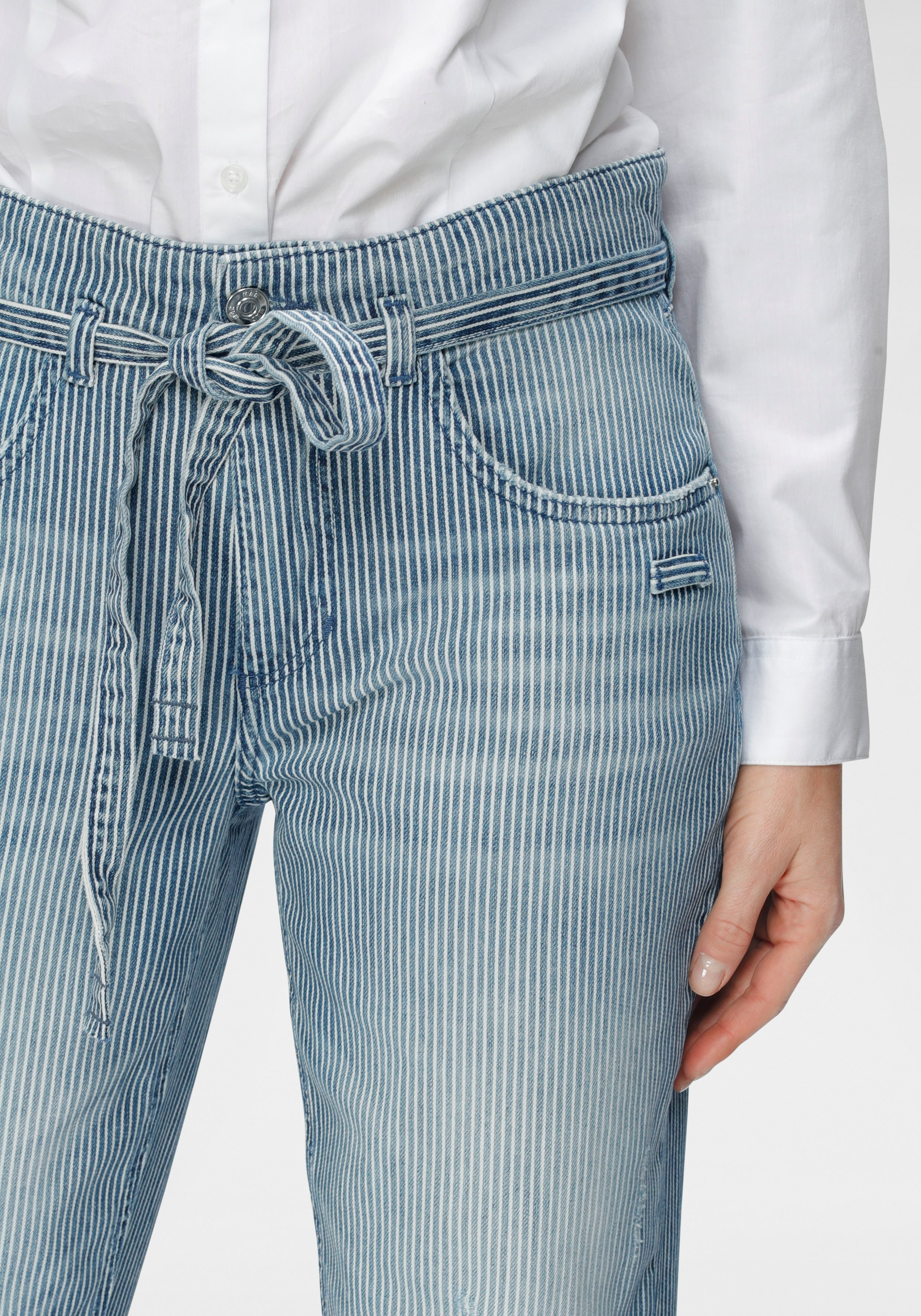 MAC ankle jeans Mina Stripe Met tegengevoerde destroyed-effecten bij OTTO online kopen