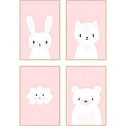 reinders! artprint pink sweeties - premium poster set van 4 (set) roze