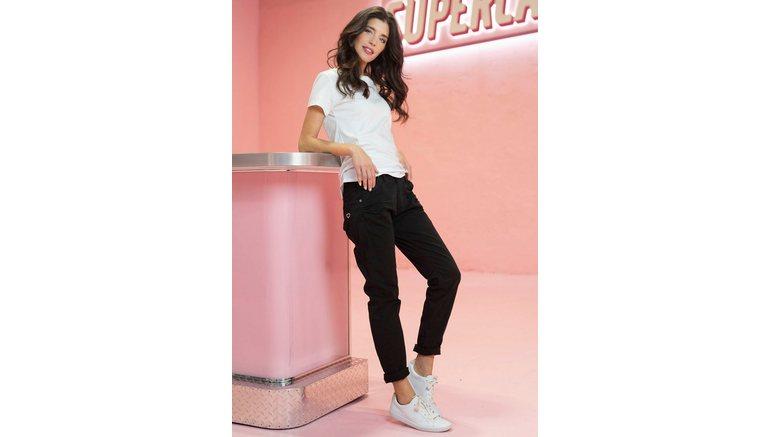 Please Jeans boyfriendjeans P85A casual jeans broek met gekreukt effect en oprolbare pijpen
