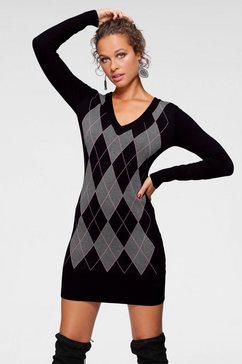 melrose tricotjurk met geruit patroon zwart
