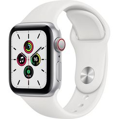 apple watch se gps + cellular, aluminium kast met sportbandje 40 mm inclusief oplaadstation (magnetische oplaadkabel) wit