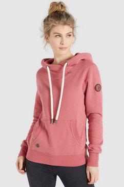 khujo sweatshirt fanci sportief sweatshirt met cross-over-kraag en capuchon roze