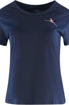 mazine t-shirt blakely elegant shirt met klein borduursel blauw