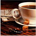 artland print op glas koffiekopje en krant (1 stuk) bruin