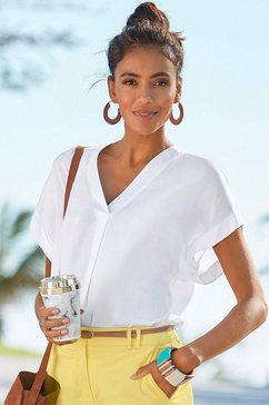 vivance blouse met korte mouwen in losjes vallend model wit
