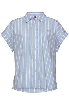 tommy hilfiger blouse met korte mouwen cutton stripe relaxed shirt ss met tommy hilfiger-merklabel roze