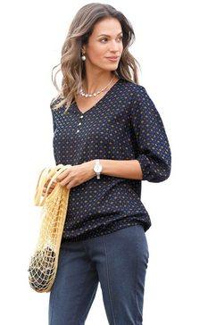 classic inspirationen blouse met modieuze minimal-printmotief blauw
