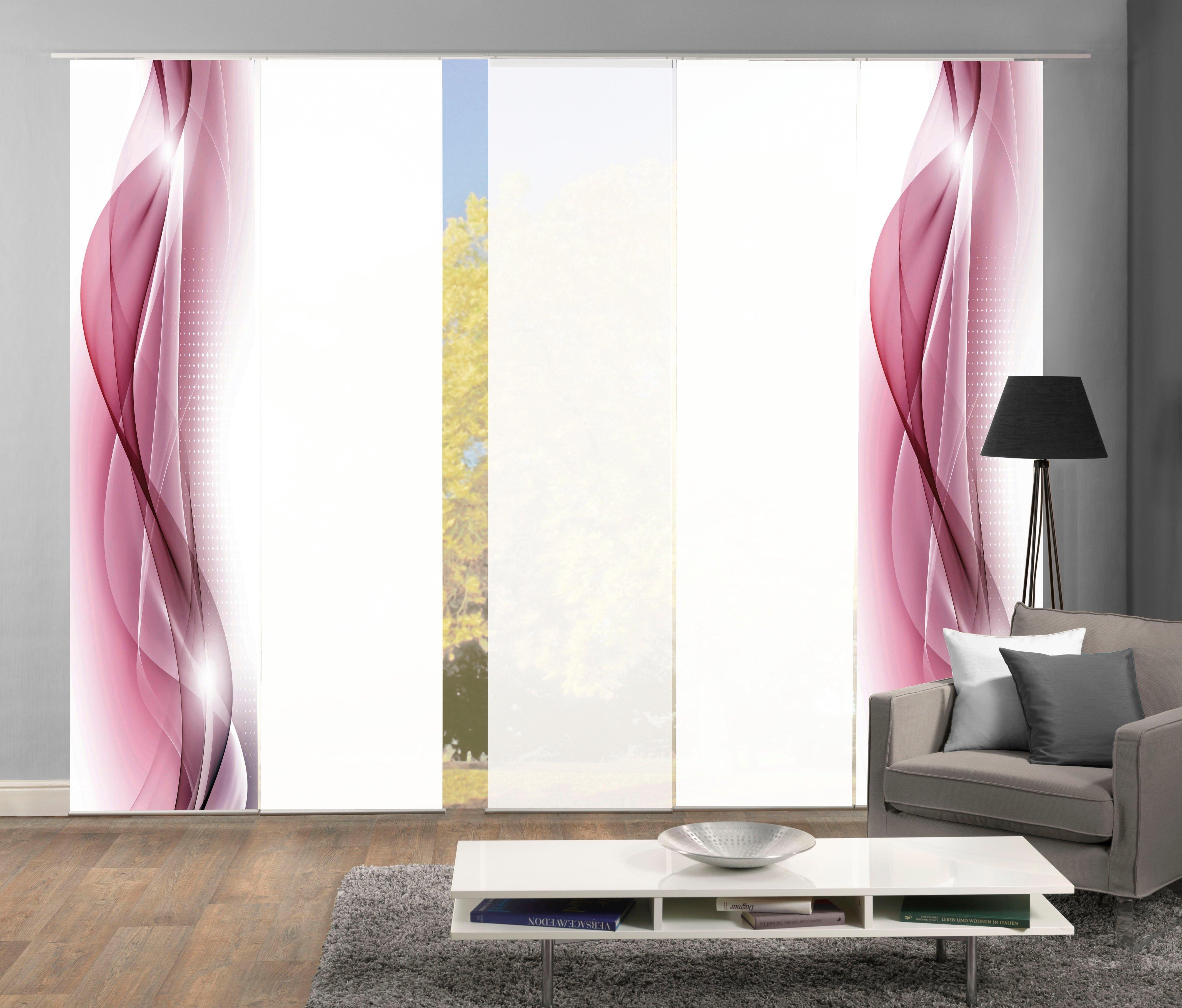 HOME WOHNIDEEN paneelgordijn NEBLANA set van 5 Gordijnstof in zijde-look, digitaal bedrukt (5 stuks) veilig op otto.nl kopen