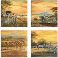artland artprint op linnen luipaarden olifanten zebra's op de steppe (4 stuks) bruin