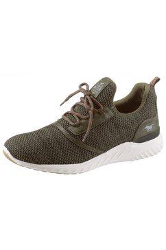 mustang shoes slip-on sneakers met opgestikte vetersluiting groen
