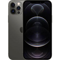 apple smartphone iphone 12 pro, 256 gb, zonder stroom-adapter en hoofdtelefoon, compatibel met airpods, airpods pro, earpods hoofdtelefoon grijs