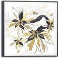 reinders! artprint op linnen gouden bloemen - glamoureus - stijlvol (1 stuk) goud