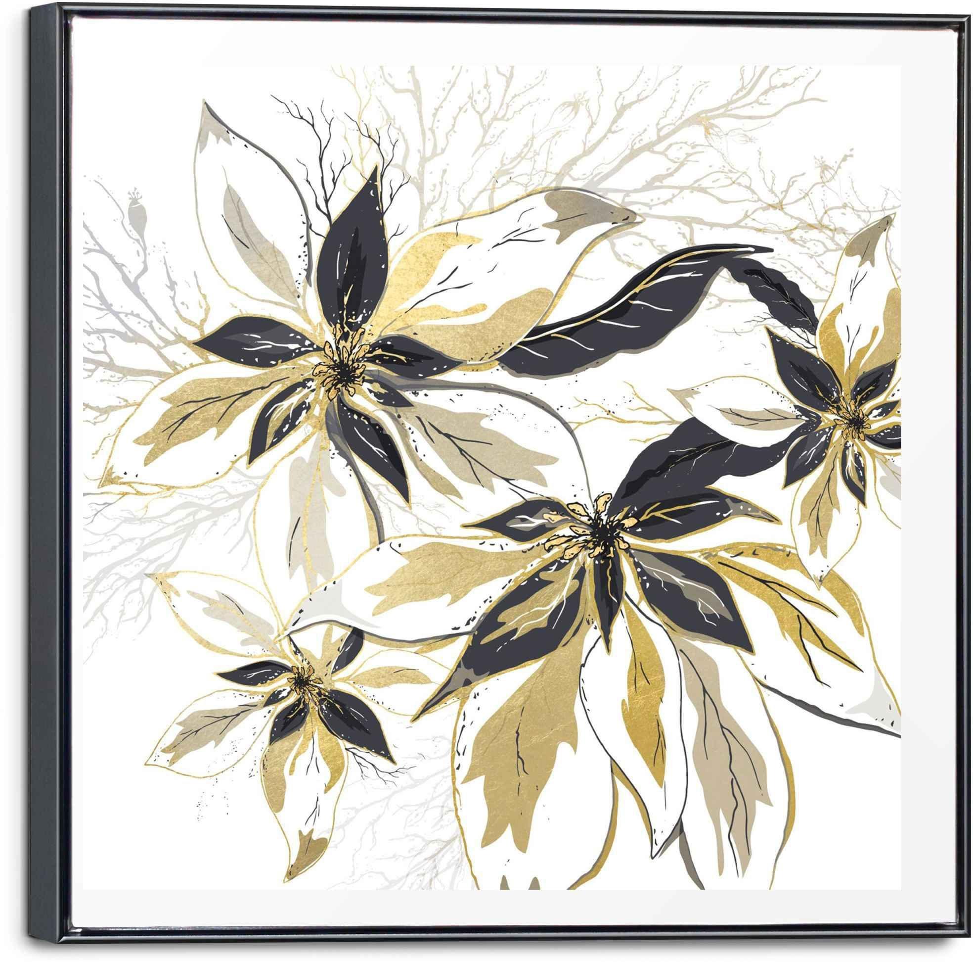 Reinders! artprint op linnen gouden bloemen - glamoureus - stijlvol (1 stuk) veilig op otto.nl kopen