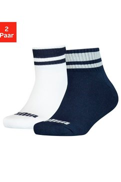 puma korte sokken clyde junior met gestreepte boorden (2 paar) blauw