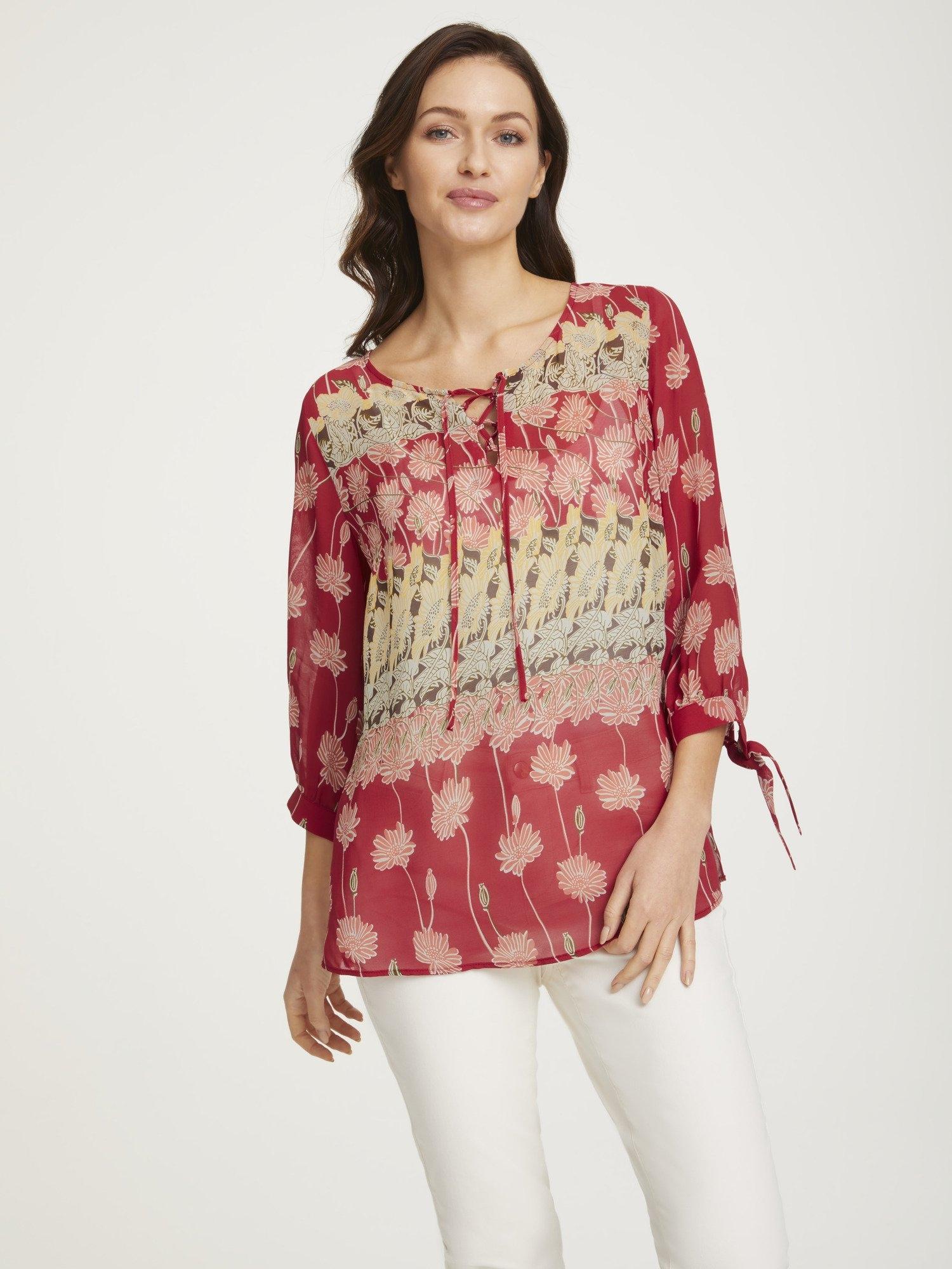 LINEA TESINI by Heine gedessineerde blouse met vetersluiting nu online bestellen
