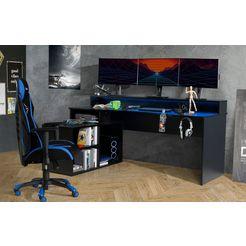 forte gamingtafel tezaur met rgb-verlichting en houders zwart