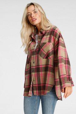 only overhemdjasje onlpia l-s plaided shacket in oversized model bruin