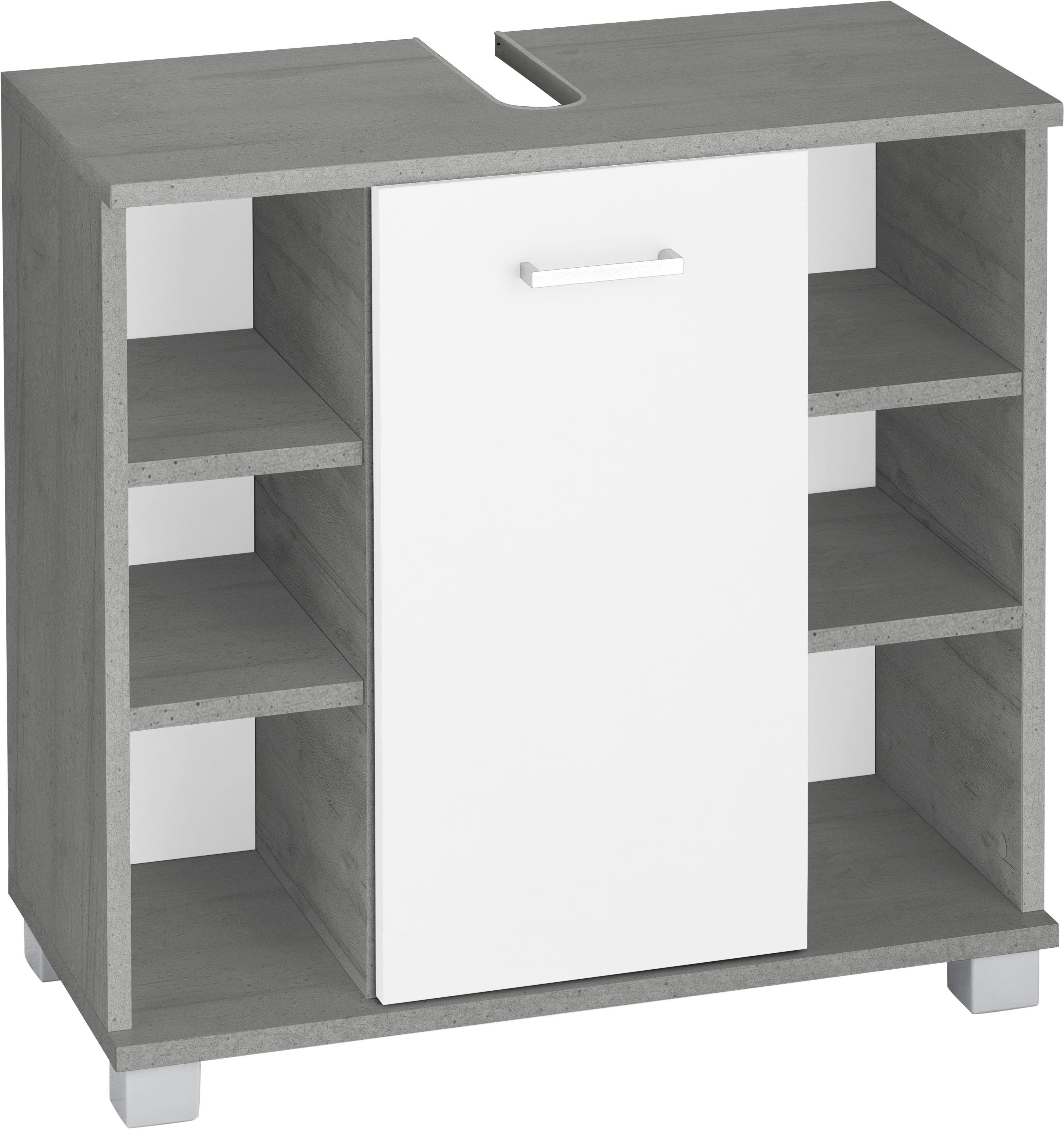 Schildmeyer wastafelonderkast Mobes Breedte x hoogte: 65,1x62,4 cm, badkamerkast met deur en praktische schappen, uitsparing voor afvoerleiding nu online kopen bij OTTO