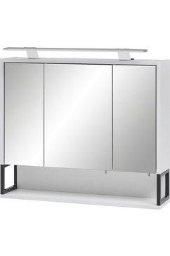 schildmeyer spiegelkast limoen breedte 70 cm, 3-deurs, ledverlichting, schakelaar-contactdoos, rekvak, glasplateaus, made in germany wit