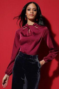 casual looks satijnen blouse rood