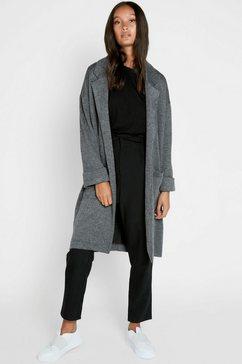 pieces lange jas met grote opgestikte zakken grijs