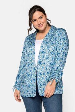 sheego jasje met print all-over en smokingkraag blauw
