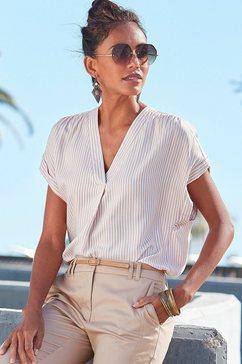 vivance blouse met korte mouwen met streepdessin wit