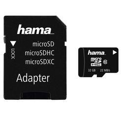 hama geheugenkaart microsdhc 32 gb class 10, kaart met sd-adapter »memory card ideaal voor full hd« zwart