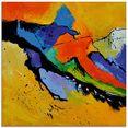artland print op glas abstract xi (1 stuk) multicolor