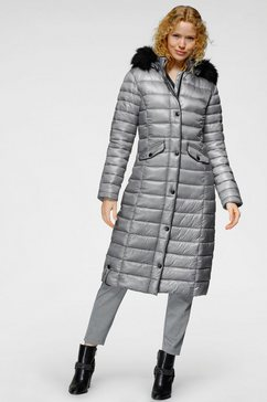 alpenblitz gewatteerde jas met afneembaar beleg van imitatiebont en modieuze imitatieleren details voor een klassieke en tegelijkertijd coole outfit grijs
