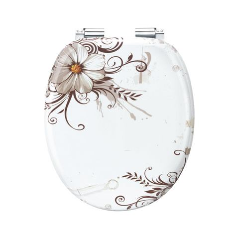 Badkameraccessoires Toiletzitting Brown Flowers 733013 wit