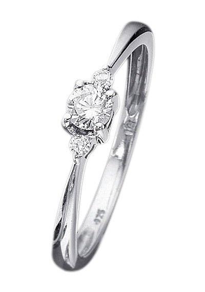 Firetti verlovingsring Stapelring, witgoud, ringkroon ø 4 mm met diamanten - verschillende betaalmethodes